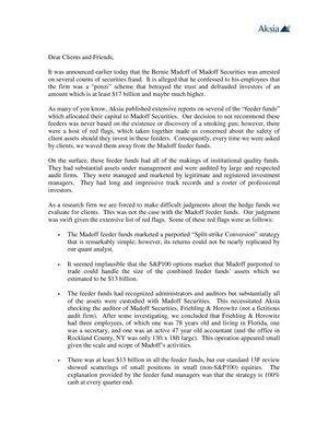 Askia letter to clients on Madoff case