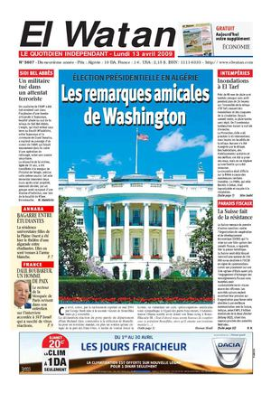 Journal EL WATAN [LA PATRIE] du 13/04/'09