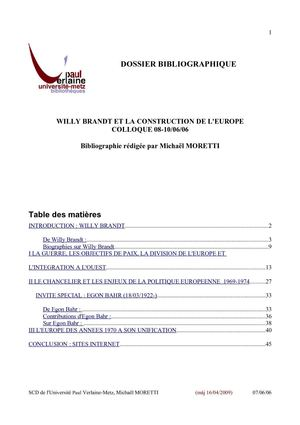Willy Brandt et la construction de l'Europe