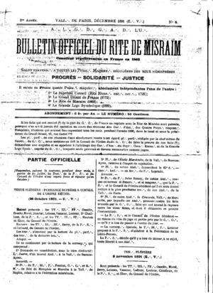 Bulletin Officiel du Rite Misraim 1891, Published by Rui Gabirro