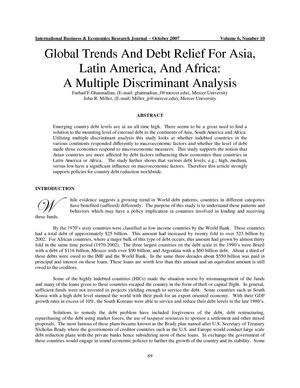 Finance | Global Trends And Debt Relief For Asia, Latin America, And Africa