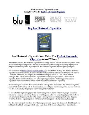 Blue Electronic Cigarette Review - SCAM or Best Electronic Cigarette?