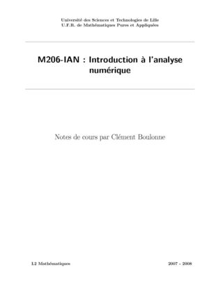M206-IAN : Introduction à l'analyse numérique