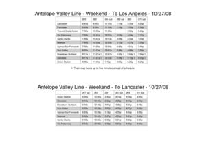 Antelope Valley Weekend Schedule
