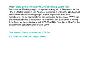 Watch WWE SummerSlam 2009 Live Streaming Online