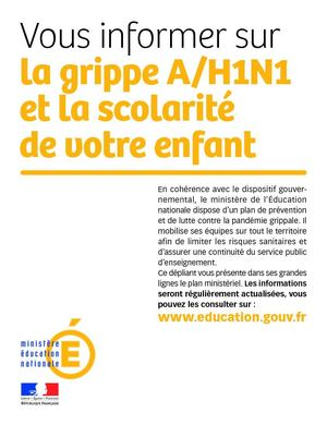 Grippe A : document d'explication fourni par les écoles