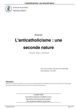 L'anticatholicisme : une seconde nature