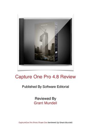 Phase One Capture One Pro 4.8 Review - Software Editorial