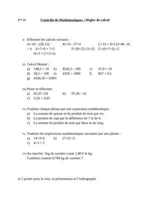 devoir de math 5eme