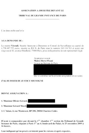 Assignation de Vivendi contre le class action Américain - octobre 2009