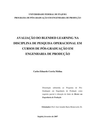 Dissertacao - 2007 -Avaliacao do Blended Learning - MOLINA