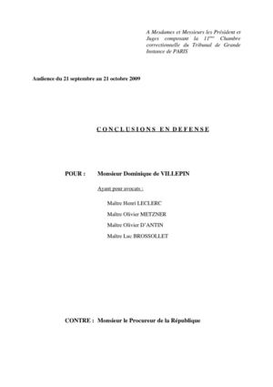 Conclusions de Villepin - Procès Clearstream - Me Metzner