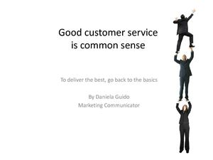 Good customer service is common sense