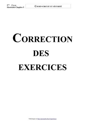 Court-circuit et sécurité (Correction des exercices - Version 2007)