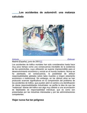 LOS ACCIDENTES DE AUTOMOVIL, UNA MATANZA CALCULADA. (ANTONIO ESTEVAN Q.E.P.D.)
