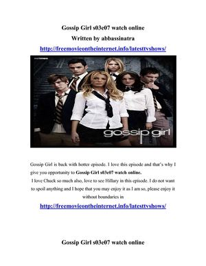 Gossip Girl S03e07 watch online
