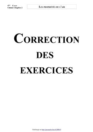 Les propriétés de l'air  (Correction des exercices - Version 2009)