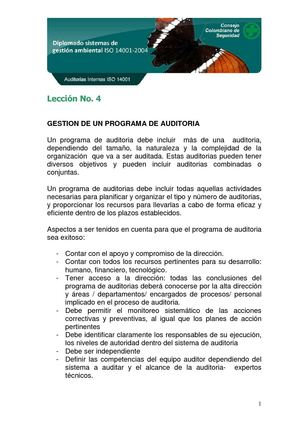 GESTION DE UN PROGRAMA DE AUDITORIA
