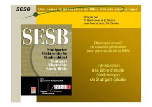 Introduction à la Bible d'étude électronique de Stuttgart (SESB)