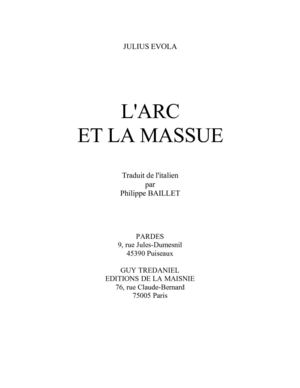 L'Arc & la Massue - Julius Evola