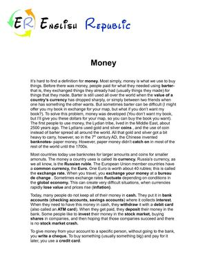 Money (English Topic)