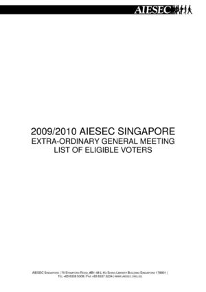 AIESEC Singapore Elections 2010 - List of Eligible Voters