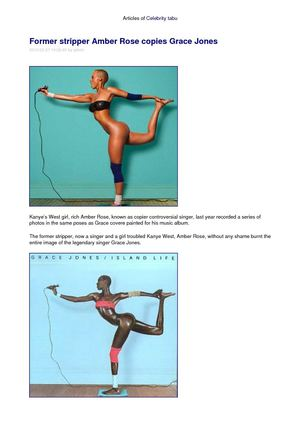 Former stripper Amber Rose copies Grace Jones