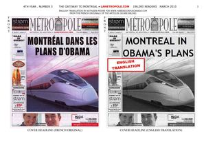 Obama Pushing Canada-USA Merger With Bullet-Train - Project of the Century: North American Union (March 2010, La Metropole)