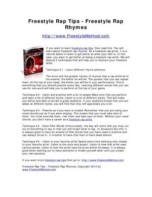 Freestyle Rap Tips - Freestyle Rap Rhymes