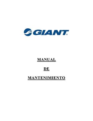 MANUAL DE MANTENIMIENTO GIANT ESPAÑOL