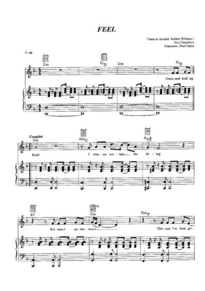Feel - Robbie Williams - Free Piano Score
