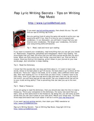 Rap Lyric Writing Secrets - Tips on Writing Rap Music