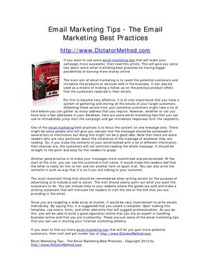 Email Marketing Tips - The Email Marketing Best Practices