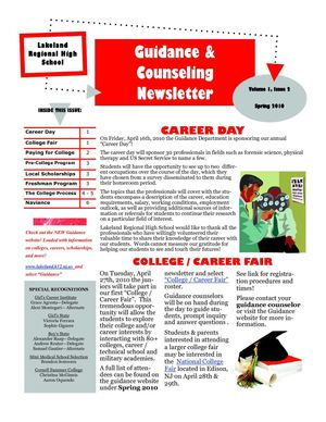 Lakeland Regional High School - Spring 2010 Guidance Newsletter