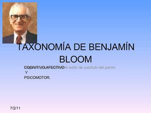 TAXONOMIA DE BENJAMIN BLOOM