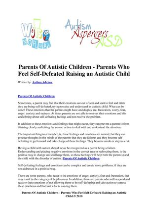 Parents Of Autistic Children - Parents Who Feel Self-Defeated Raising an Autistic Child