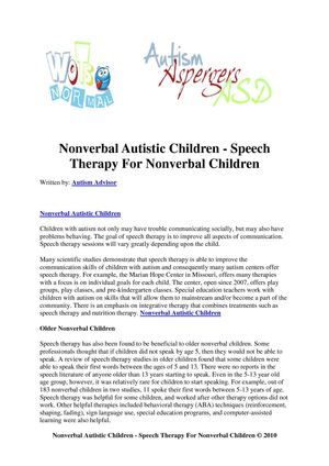 Nonverbal Autistic Children - Speech Therapy For Nonverbal Children
