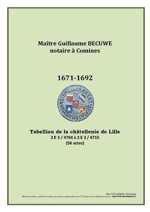 NOTARIAT - Becuwe 1671-1692 Comines