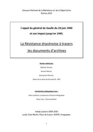 La Résistance dracénoise à travers les documents d'archives