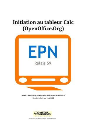 Support de cours et initiation pour le tableur Open Office Calc