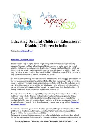Educating Disabled Children - Education of Disabled Children in India