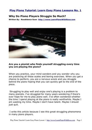 Play Piano Tutorial: Learn Easy Piano Lessons No. 1 - Why do Piano Players Struggle?