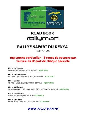 Road Book Safari Kenya Rallyman