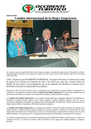 Occidente Turistico - Noticias Junio 9 de 2010
