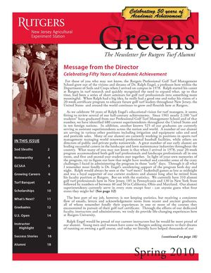 2010 Rutgers Professional Golf Course Turf Management Program Newsletter