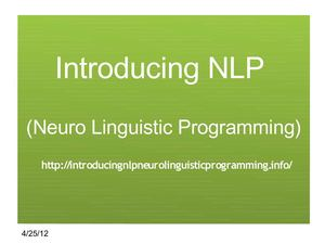 Introducing NLP Neuro Linguistic Programming