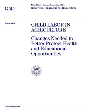 GAO Report on Child Labor in U.S. agriculture 1998
