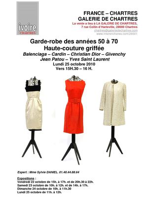COLLECTION DE M.X. : GARDE-ROBE DE 150 MODELES GRIFFES DES ANNEES 60 25-10-2010