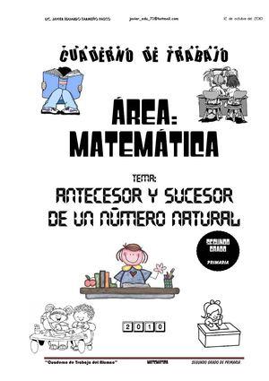 Calaméo - Cuaderno de Trabajo de Matematica - Antecesor y Sucesor de ...