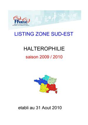 LISTING PAR CATEGORIES ZONE SUD-EST SEPT 2010